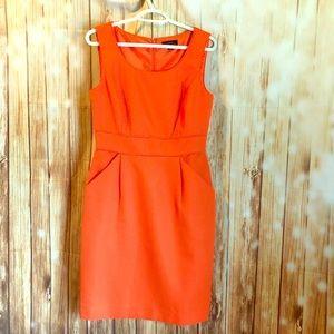 Tahari vibrant orange dress size 8 US